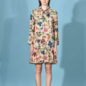 Made in Italy Multi Sand Floral Silk Wrap Dress