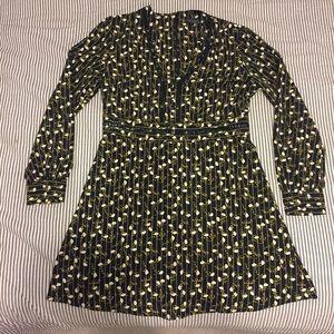 TOPSHOP black floral pattern dress.