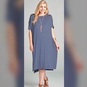 Dresses & Skirts - 🔥🔥PLUS--Arlena Blue/Ivory Striped Midi Dress🔥🔥