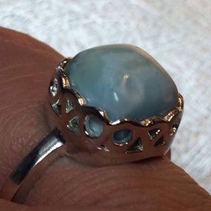 🔥new! Rare Genuine 8.3 ct Larimar chunk .925 Ring