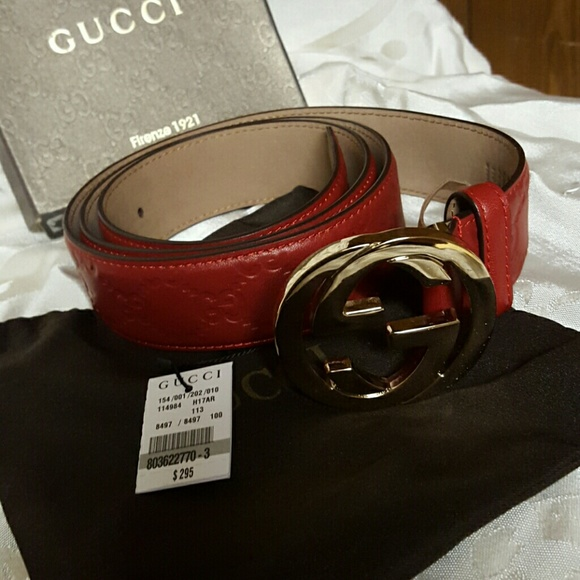 106ef49e5 Gucci Accessories | Mens Belt Red Gold Buckle Size 44 110cm | Poshmark