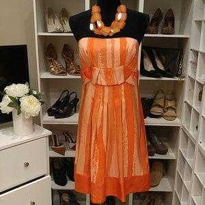 NWOT GIANNI BINI ORANGE PLEATED SILK DRESS 10