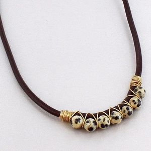 Jewelry - Wire-Wrapped Dalmatian Jasper Stone Choker