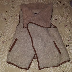 Love Tree Faux Fur Shaggy Faux Leather Vest