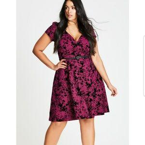 sale! NWT City Chic Flare Dress Rose Beauty