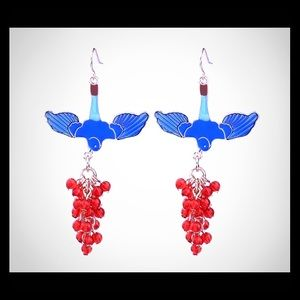 🍒NWOT Candy blue Enamel Bird Earrings🍒