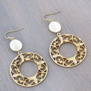 Dangling Coin Pearl Circle Scroll Earrings