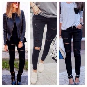 Denim - 🔥NEW🔥 Blogger Fall Ripped Black Skinny Jeans