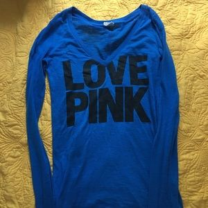 Victoria Secret Pink, blue long sleeve tank,size S