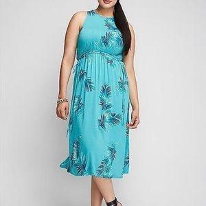 LANE BRYANT NWOT midi palm Dress