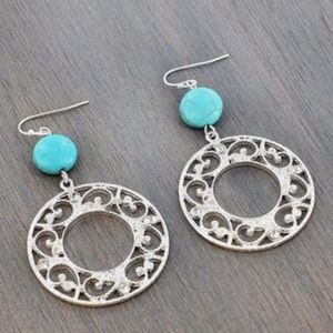 Dangling Turquoise Bead Circle Scroll Earrings