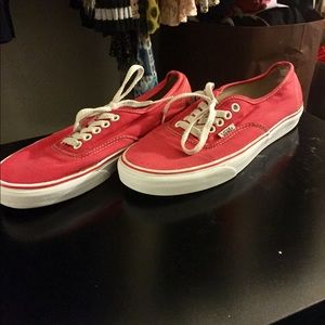 Men's Authentic Red Vans Size 7
