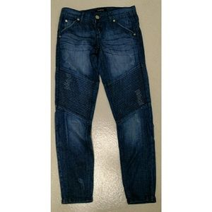 Bebe distressed moto jeans. Size 25