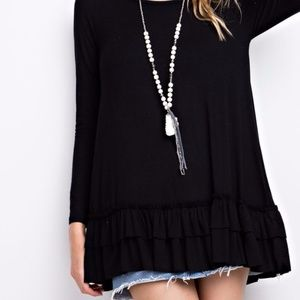 Tops - PLUS--Black Long Sleeve Double Ruffle Tunic