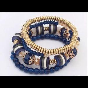Bracelet 4 Layers Accessory Blue Color.