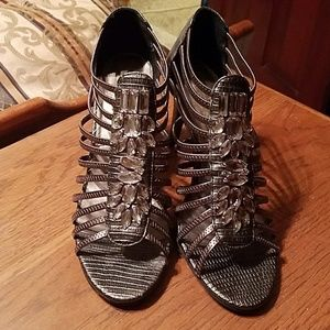 Pewter cage heels with bling