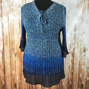 Blue Ombré Peasant Top Accordion Flare Sleeves
