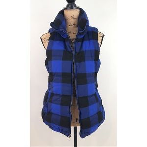 Old Navy Blue Black Gingham Vest