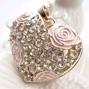 New Betsey Johnson Heart with pink flowers