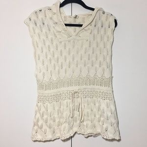 Moth by Anthropologie Sleeveless Off-White Hoodie