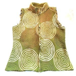 CoVelo Anthro Embroidered Green Wool Vest Sweater