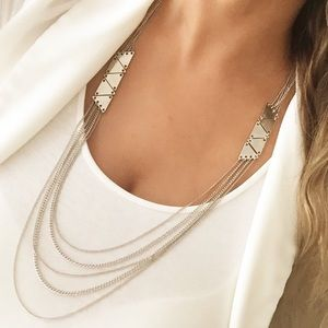Express silver layered necklace