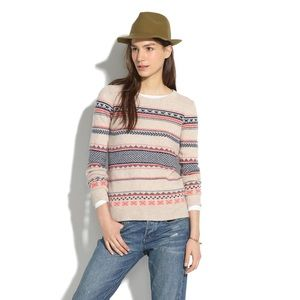 Madewell Fair Isle Striped Wool Sweater Size XS