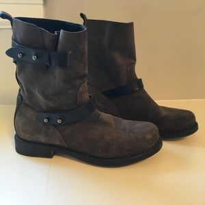 Rag and Bone brown distressed suede moto boots