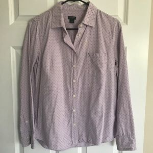 J crew Lilac Oxford Button Up with Navy Dots