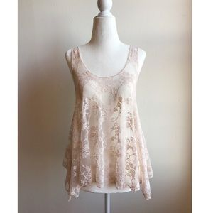 Forever 21 pink lace tank - size Small