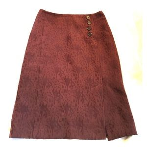 J. Crew Dk Wine Embroidered Buttoned Pencil Skirt
