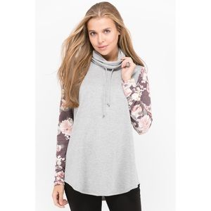 French Terry Cowl Neck Sweater with Floral Sleeves