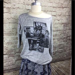 Maru Sweatshirt gray New York print Sz.x1