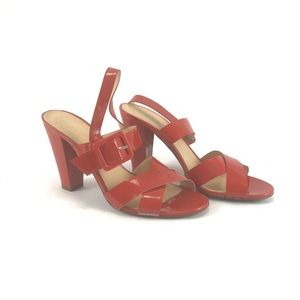 J. Crew red patent leather heels. Woman's size 8