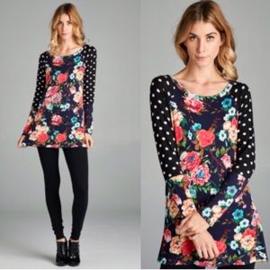 ❣️S or L❣️ Floral Polka Dot Casual Long Sleeve Top