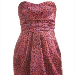 Arden B Red Cheetah Tulip dress