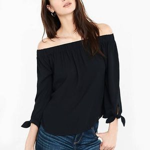 Express Black Off the Shoulder Top with Tie