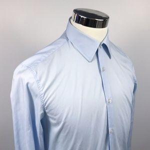 Hugo Boss Mens 15 1/2 34 Astor Slim Fit Light Blue