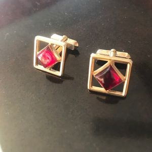 Vintage and red stone cuff links