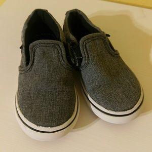 Dark gray toddler Vans slip ons with velcro 6