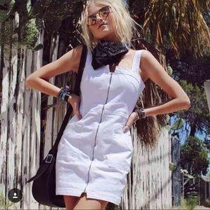 LF white denim zipper dress sz 8