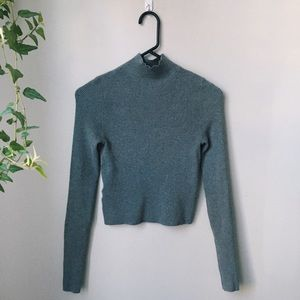 Lou and Grey cropped ribbed turtle neck sweater.