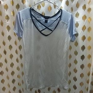 White and Light Blue Criss-Cross Tee