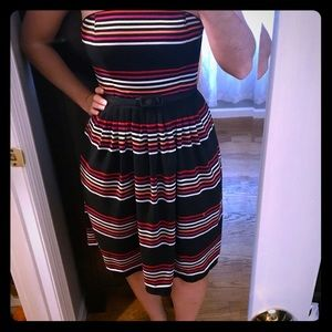 WHBM Strapless Striped Dress w/ Belt