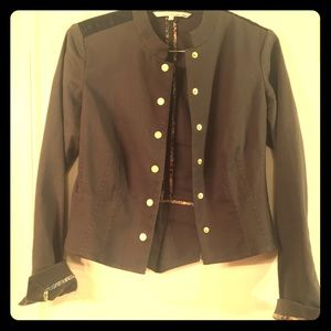Rachel Roy Military Jacket with Leather Detail