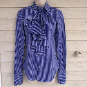 RALPH LAUREN 100% cotton ruffled blue striped top