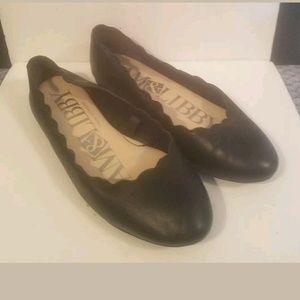 NWOB 8MSam & Libby Scallop-Edge Black Flat Shoes