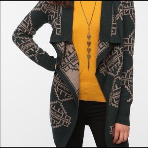 UO Staring at Stars Green Tribal Print Cardigan XS