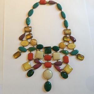 Beautiful multi-color stone bib necklace!