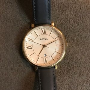 NWOT Fossil Watch: Jacqueline with Leather Straps